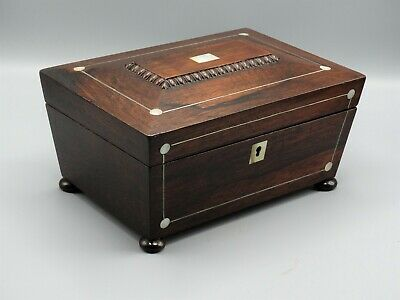 """Antique French Rosewood Box with Mother-of-Pearl Inlay 10"""" Length"""