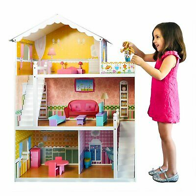 Best Choice Products Large Childrens Wooden Dollhouse Fits Barbie Doll House Pin