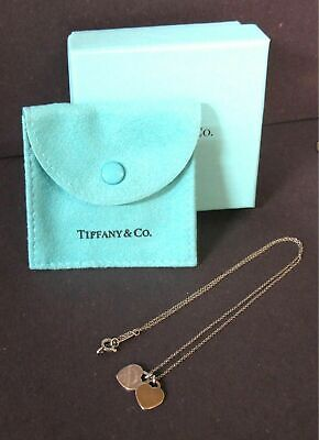 "Return to Tiffany Sterling Silver 2 Mini Hearts Necklace 16"" Box Pouch"