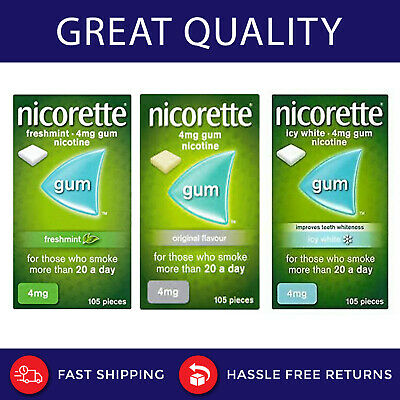 Nicorette Chewing Gum all Flavours 2mg and 4mg  Nicotine 105 Pieces