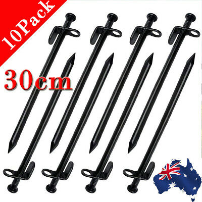 10PCS 30cm Heavy Duty Steel Metal Tent Canopy Camping Stakes Pegs Ground Nail AU