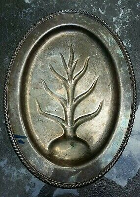 Vintage Wm Rogers Silver Plate #810 Serving Meat Platter Tray Tree of Life