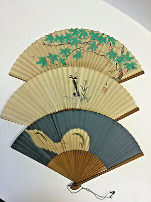 3 VINTAGE JAPANESE FOLDING HAND FANS SENSA STYLE HAND PAINTED 2 are SIGNED