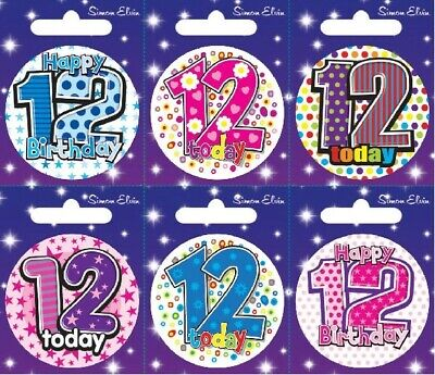 Age 12 12th Happy Birthday Badge Boy Girl Small Children Party Gift Present
