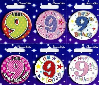 Age 9 9th Happy Birthday Badge Boy Girl Small Children Party Gift Present