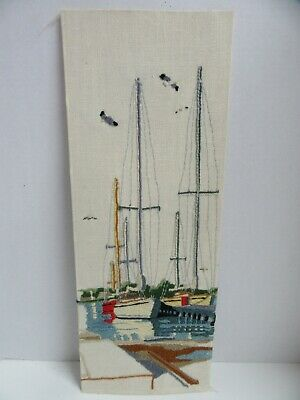 Finished Crewel Embroidery Saltwater Harbor Sail Boat Seagulls Dock Completed