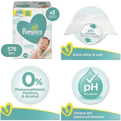 Sensitive Pampers Water Baby Diaper Baby Wipes Hypoallergenic & 576 Total Wipes