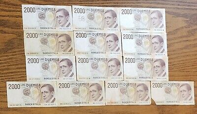 Italy 2000 Lire 1990 Banknotes Papermoney Lot of 13