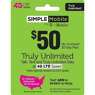 SIMPLE MOBILE  Prepaid $50 Refill Top-Up Prepaid Card - Direct Load 2 Phone#
