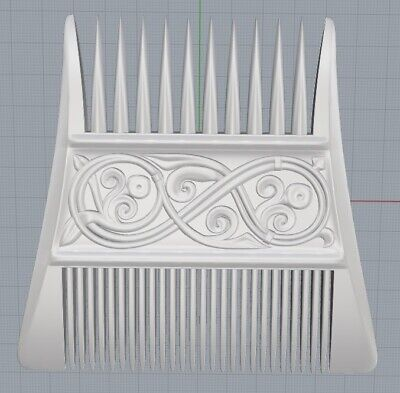 Viking comb replica STL Model for CNC Router Artcam Aspire Bas Relief