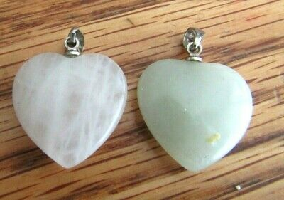 2 Vintage Small Jade Heart Shaped Pendants One Mutton Fat And A White Swirls