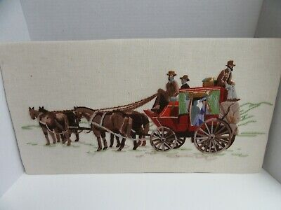 Finished Crewel Embroidery Stagecoach Western Cowboys Horse Completed 14x26
