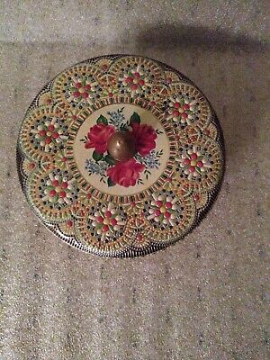 "Vintage Tin Container Made In Holland Floral Design Embossed 6"" Round Mosaic @"
