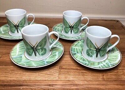 Grace's Teaware Espresso Tea Cup & Saucer Green Butterfly Set 8 Pc. Demitasse