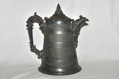 RARE Antique Ornate Teapot / Water Pitcher Silver Plated? Marked E K 1 NICE!!!