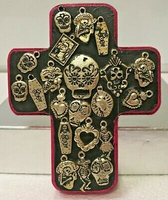 Mexican Milagros Cross Wood  Day of The Dead Miracle Ex Voto Sugar Skull