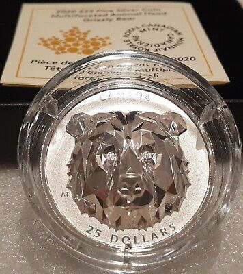 2020 Grizzly Bear Multifaceted Animal HighRelief Head $25 1OZ Silver Coin Canada