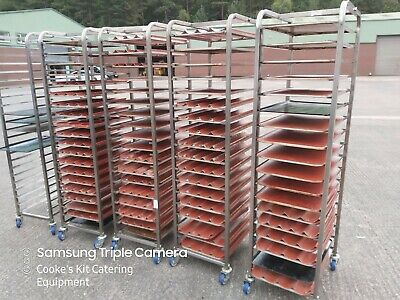 Stainless Steel Mobile Bakers Trolley Complete With 60 X 40 Non Stick Trays