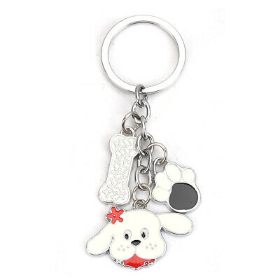 Dog Keyring with Enamel Charms, Dog, Bone and Paw - very cute and unusual