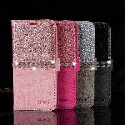 Bling Diamond Leather Magnetic Wallet Flip Case Cover For Samsung S10 A20e S9