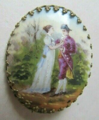 Antique Victorian Painted PORCELAIN BROOCH Napoleon JOSEPHINE French ROMANTIC