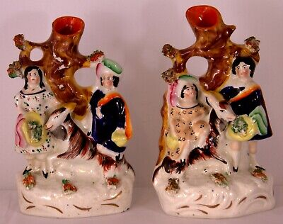 Pair of Antique Staffordshire Spill Vases – Boy & Girl with Goats 19th C