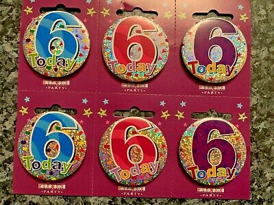 Age 6 6th Happy Birthday Badge Boy Girl Small Children Party Gift Prescent