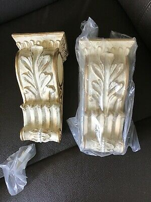 Pair Of Beautiful Ornate Drapery / Curtain Pole Holders Corbels/ Cream And Gold