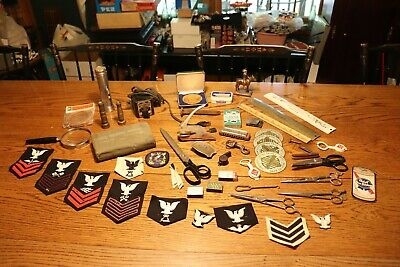 Vintage Junk Drawer Lot Military Patches Metal Car Brass Match Box Misc & More