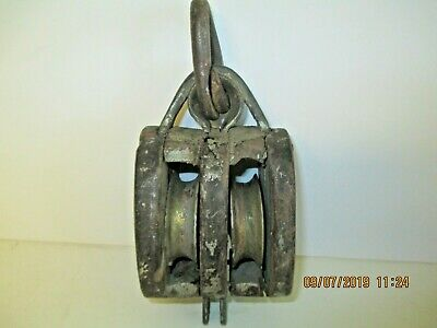 Antique sailboat pulley  maritime, sheave, brass & wood Great Lakes area