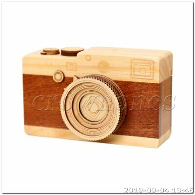 Retro Creative Wooden Camera Music Box Wood Crafts Wood Camera Model