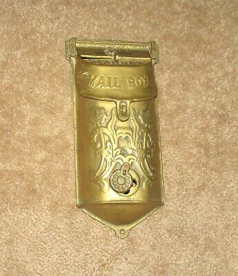 Great Antique Standard Brass Mail Box Ornate Victorian Mailbox