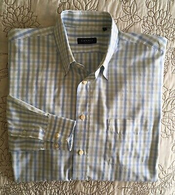 Canali Mens Sz XL Long-sleeve Blue/Green Plaid Shirt Made in Italy 100% Cotton