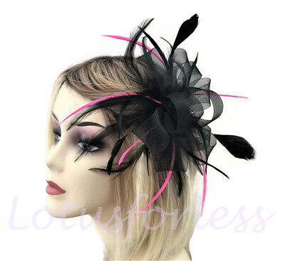 Beautiful Black and Pink Net Bow & Feather Hair Comb Slide Fascinator