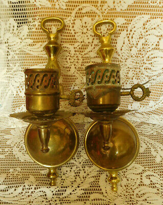 Pair  Antique Vintage Brass Wall Sconce Electric Light Fixtures ~ FREE SHIPPING~