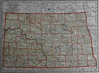 L@@K! Vintage 1940 World Atlas Maps of North Dakota ND & North Carolina NC OLD
