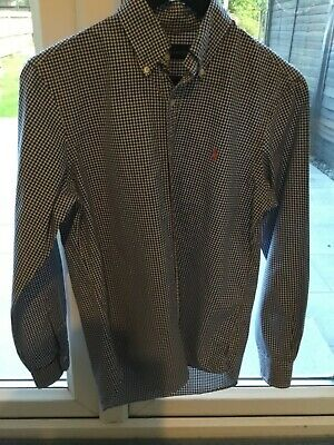 Mens Polo By Ralph Lauren Long Sleeve White Blue Check Shirt, Size S