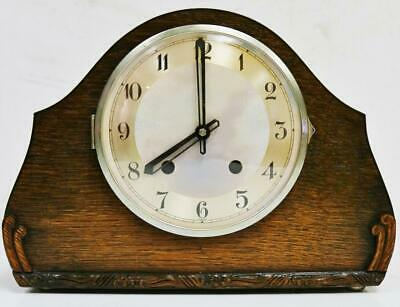 Antique English Veneered Oak Art Deco Gong Striking 8 Day Mantel Clock C1930