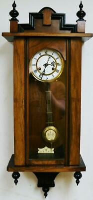 Small Antique German 8 Day Striking Carved Walnut & Ebonised Vienna Wall Clock