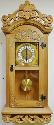 Superb Vintage German Carved Solid Pine 8 Day Gong Striking Vienna Wall Clock