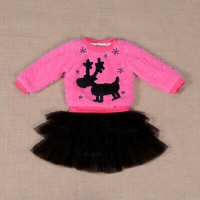 Girls Fluffy Jumper Tulle Skirt Set Yellow Pink Purple Ivory 12-18 to 4-5 Year