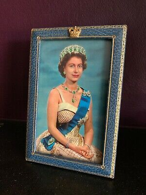 Vintage Queen Elizabeth II Photograph In Blue Leather Frame