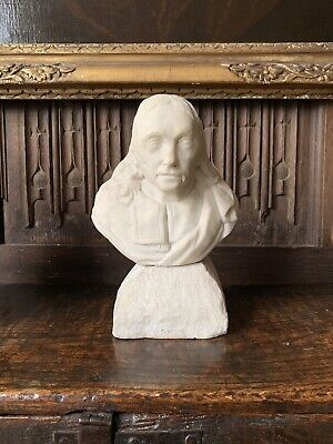 Antique 17th Century Carved Marble Portrait Bust Of A Man Possibly John Milton