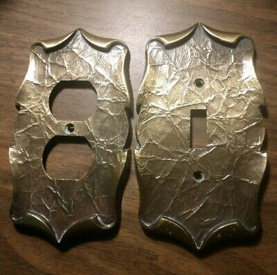 Vintage Brass Switch Outlet Covers Lot 2 Antique Retro MCM Home Interior Deco