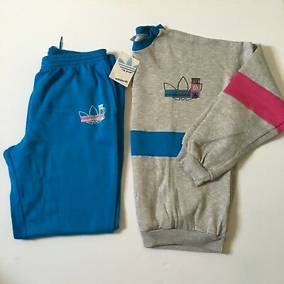 Vintage Adidas 1990s 'Sport' Tracksuit Sweater BNWT XL D8 Grey Pink Blue 90s