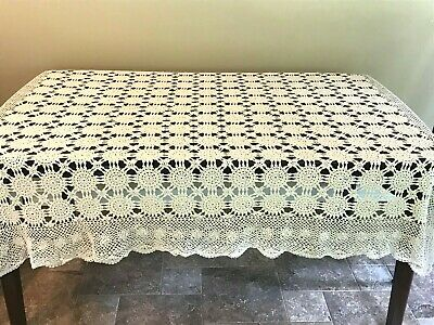 "Vintage Medallion Crocheted Ecru Rectangle Tablecloth Coverlet Boho 70"" X 52"""