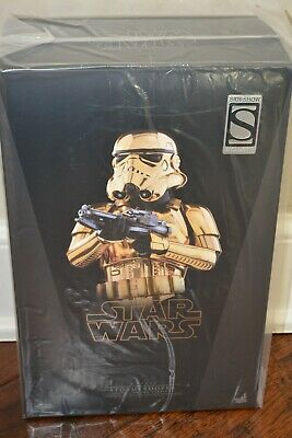 """Sideshow Exclusive Hot Toys MMS364 Star Wars 1/6 """"Gold Chrome Storm Trooper"""" NIB"""