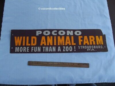1940's to 50s Cardboard Bumper Sticker Pocono Mt Wild Animal Farm Stroudsburg Pa
