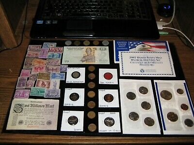 Junk Drawer Big Coin Lot DOLLAR Old Coin 2003 Mint Set Proof Coins STAMPS Silver