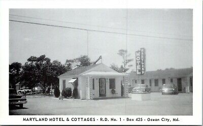 Ocean City Maryland Motel & Cottages Rt 1 1950s Real Photo Postcard